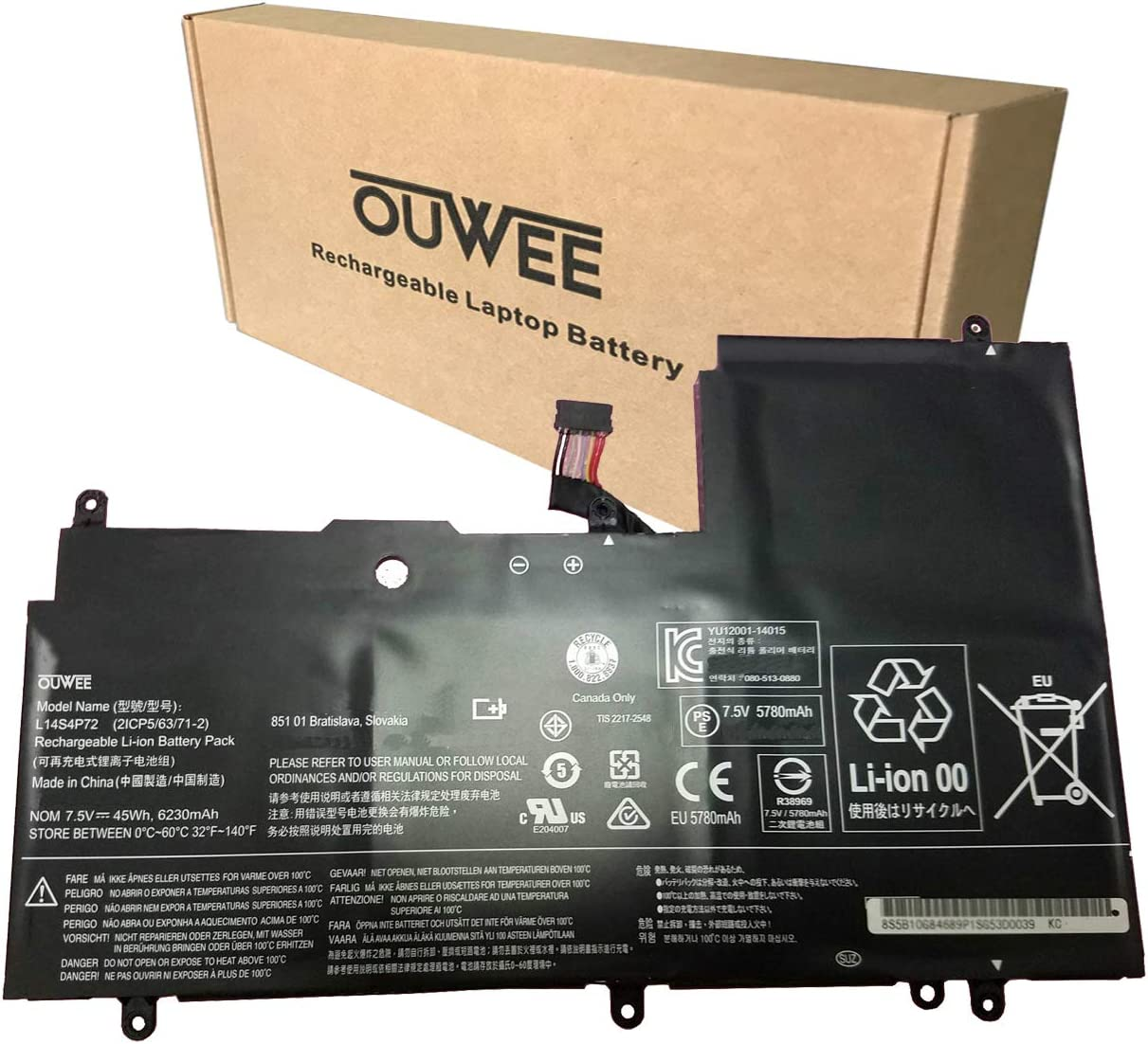OUWEE L14S4P72 Laptop Battery Compatible with Lenovo Yoga 3 14inch Yoga 3-1470 IdeaPad Yoga 700-14ISK Series Notebook 5B10K10224 L14M4P72 5B10K10226 5B10G75095 5B10G84689 7.5V 45Wh 6230mAh