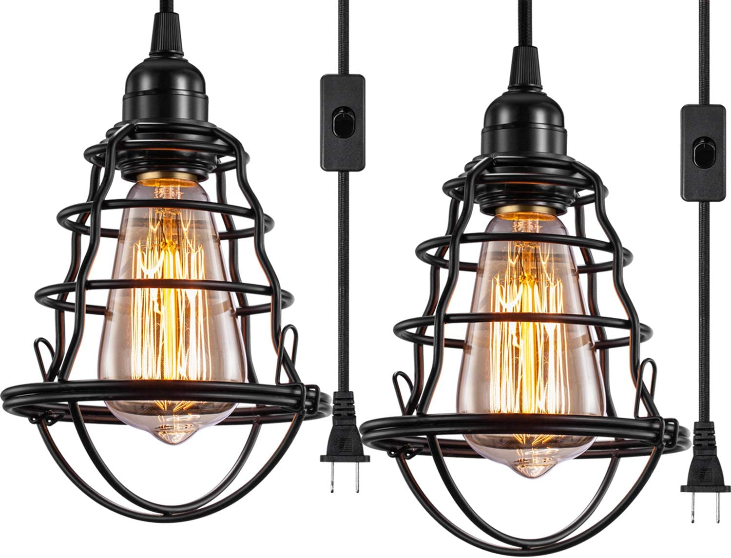 Industrial Plug In Pendant Light Vintage Hanging Cage Pendant Lighting E26 E27 Mini Pendant Light Edison Plug In Light Fixture On Off Switch 2 Pack