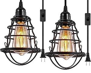 INNOCCY Industrial Plug In Pendant Light Vintage Hanging Cage Pendant Lighting E26 E27 Mini Pendant Light Edison Plug In Light Fixture On/Off Switch 2 Pack