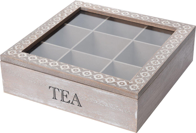 Eliware Lot de 9 boîtes à thé avec Motifs différents et 9 Compartiments Marron/Blanc 9-Fächer Unknown