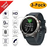 Kimilar Compatible Garmin Fenix 5 Screen Protector [3-Packs], Full Coverage Tempered Glass Screen Protector, [9H Hardness] [Ultra High Definition] [Crystal Clear] [Scratch Resist] [No-Bubble]