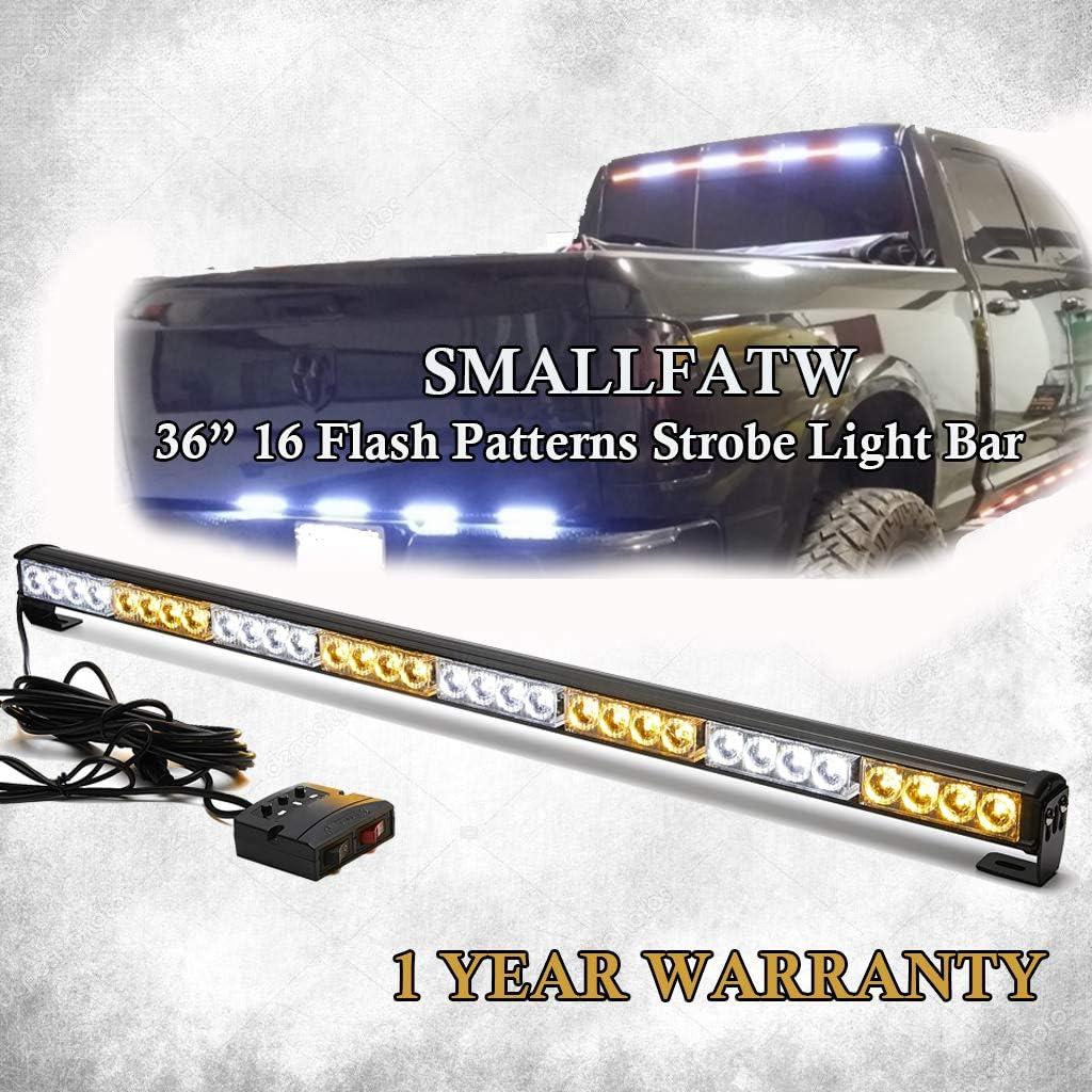 "Amber SmallFatW Emergency Warning Strobe Light Bar 36/"" 16 Flash Patterns Vehicles Tow Trucks Traffic Adviaor Light Bar Rear Directional Light Bar with Remote Controller"