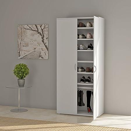 Merveilleux UKHOMEGARDEN 7 Tier Shoe Rack, Large Shoe Storage Cabinet Organizer With 2  Door (White) 80 X 40 X 176.5cm: Amazon.co.uk: Kitchen U0026 Home