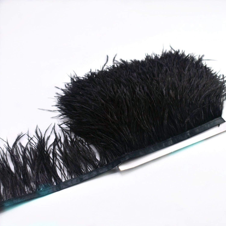 COOL-SHOW - Falda de Avestruz sintética con Plumas Negras en Cinta ...