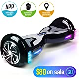 TOMOLOO Hoverboard with Bluetooth Speaker Smart Scooter Two-Wheel Self Balancing Electric Scooter and Lights - Black Hover Board with UL2272 Certified for Adults and Children.