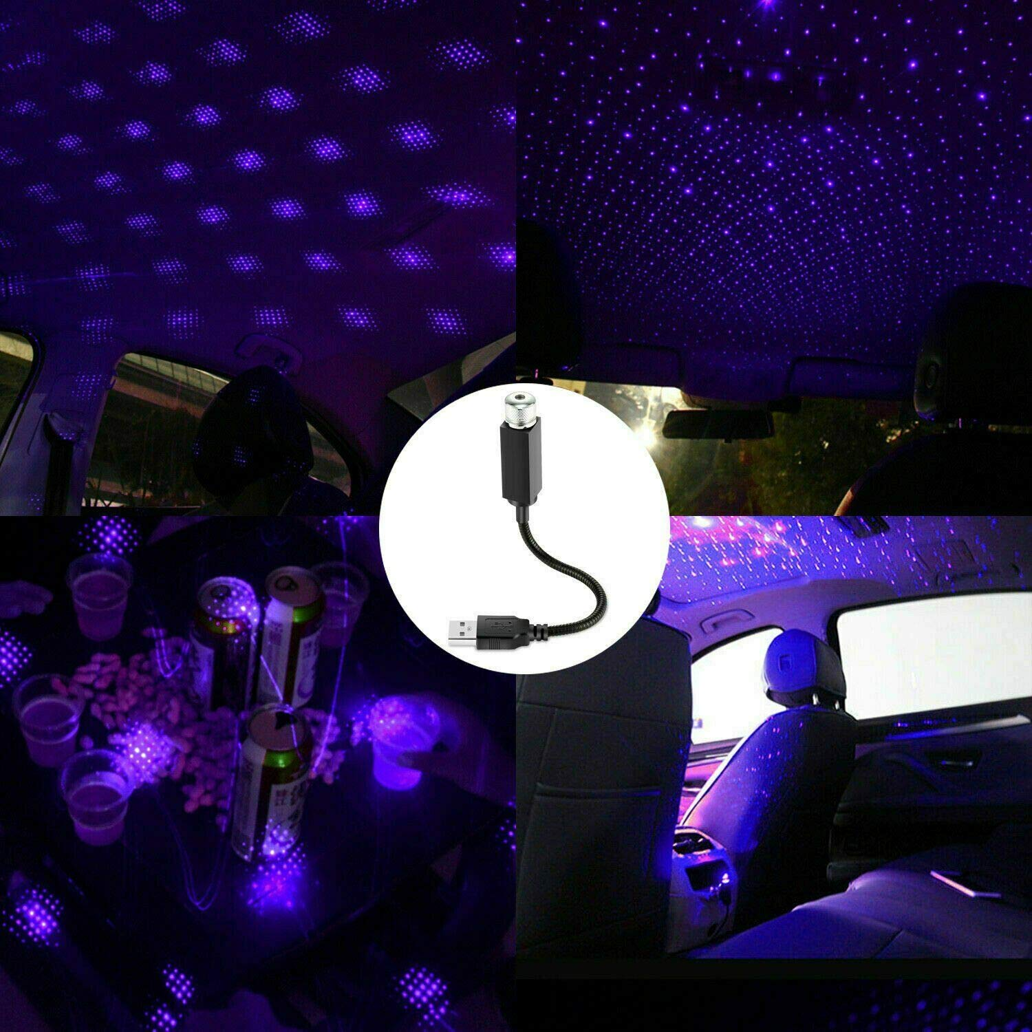 360 degree Rotation 6 Modes Purple Car Room Roof LED USB Star Night Lights Romantic Club Atmosphere Sky Star Projector Lamp Decoration for Bedroom Party Christmas Gift for Friend Children