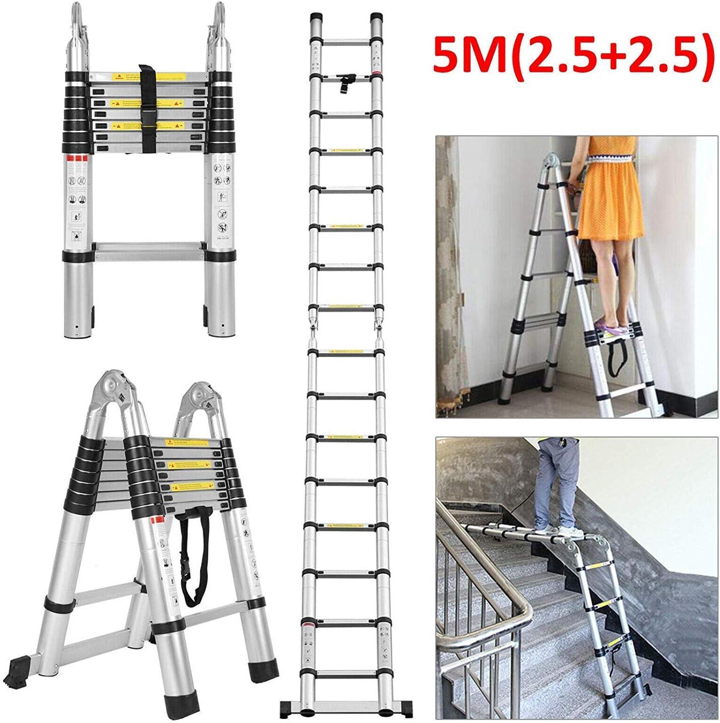 5M telescópica Escalera multiusos de aluminio plegable Escalera extensible Escalera Portátil for trabajo pesado de la carga máxima de 150 kg antideslizante de bloqueo de seguridad Un marco de la escal: Amazon.es: