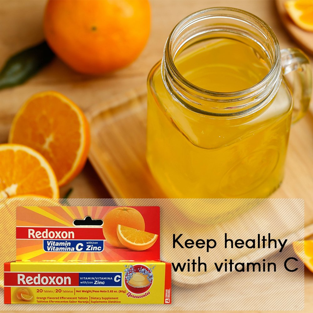 Amazon.com: Orange Flavored Redoxon Effervescent Vitamin C Tablets with Zinc 20 ct: Health & Personal Care