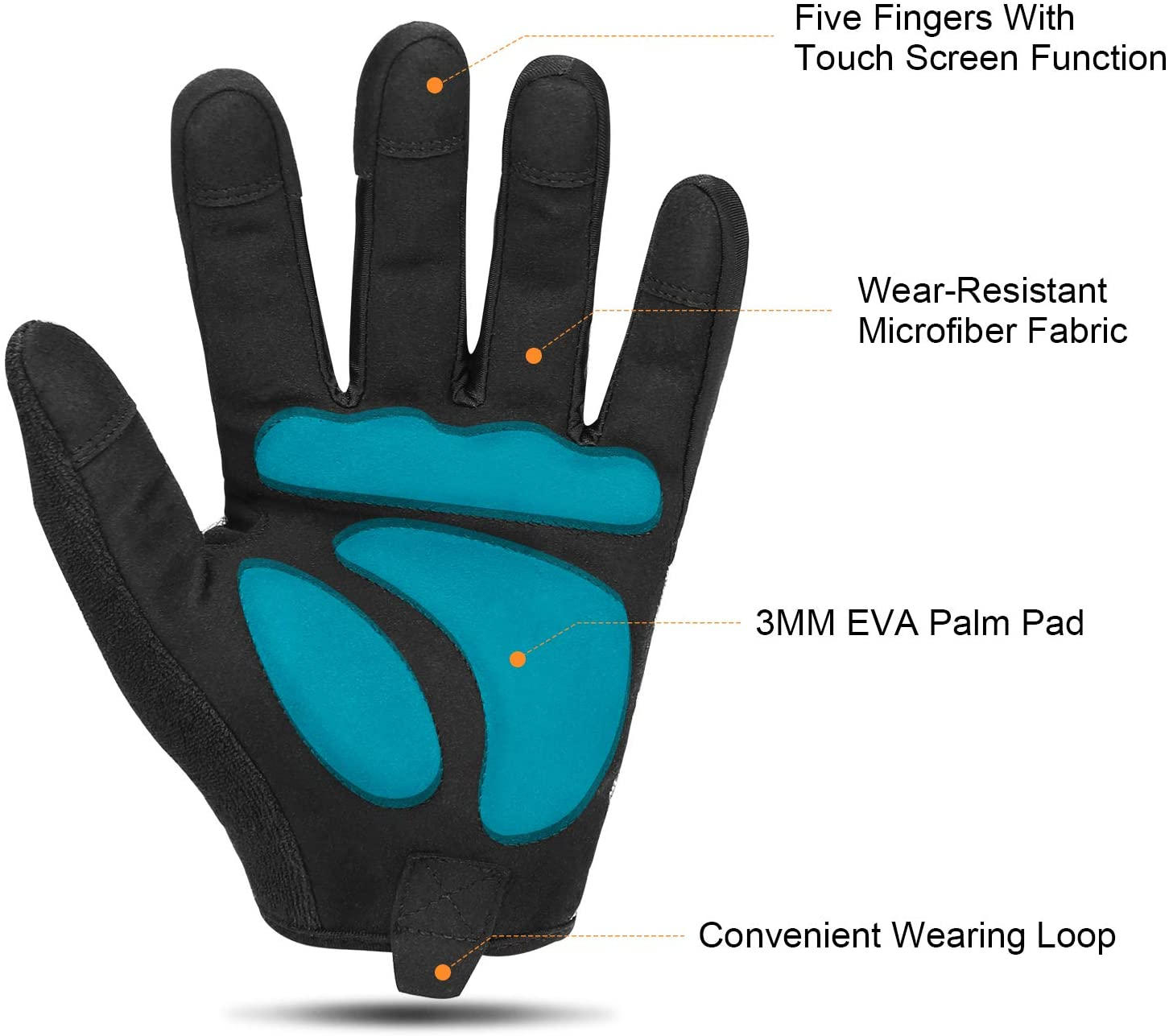 KUTOOK Multifunctional Full Finger EVA Padded Gloves Touch Screen for MTB Cycling Climbing Hiking Shooting Fishing Working Outdoor