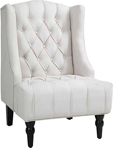 HOMCOM Linen Fabric Button Tufted Wingback Accent Chair