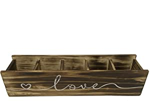 Indoor Planter Box Wooden Box for Succulents, and Flowers - Planter Decorative Box - Beautiful Distressed Dark Wooden - Rectangular Love Planter Box - Table Wedding Centerpiece