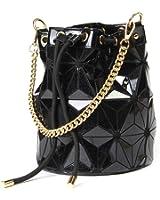 Hotone Drawstring Bucket Bag Geometry Shard Lattice Handbag PU Leather Shoulder Bags for Women