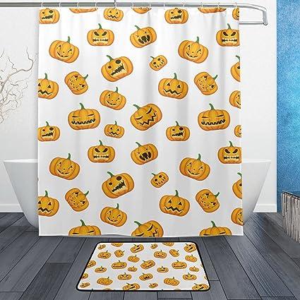 Amazon Com Baihuishop Halloween Pumpkin Emoji 3 Piece Bathroom Set