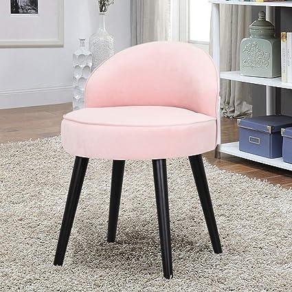 Warmiehomy Velvet Vanity Dressing Table Stool Low Back Makeup Vanity Stool Chair Bedroom Chair Stool Wood Legs Pink 48 48 68cm Amazon Co Uk Kitchen Home