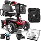 Victory Sport 4-Wheel Electric Scooter Pride SC710 DXW Red + Challenger Mobility Accessories - Bundle