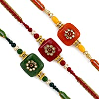 Aapno Rajasthan Set of 3 Traditional Colour Kundan Work Rakhi