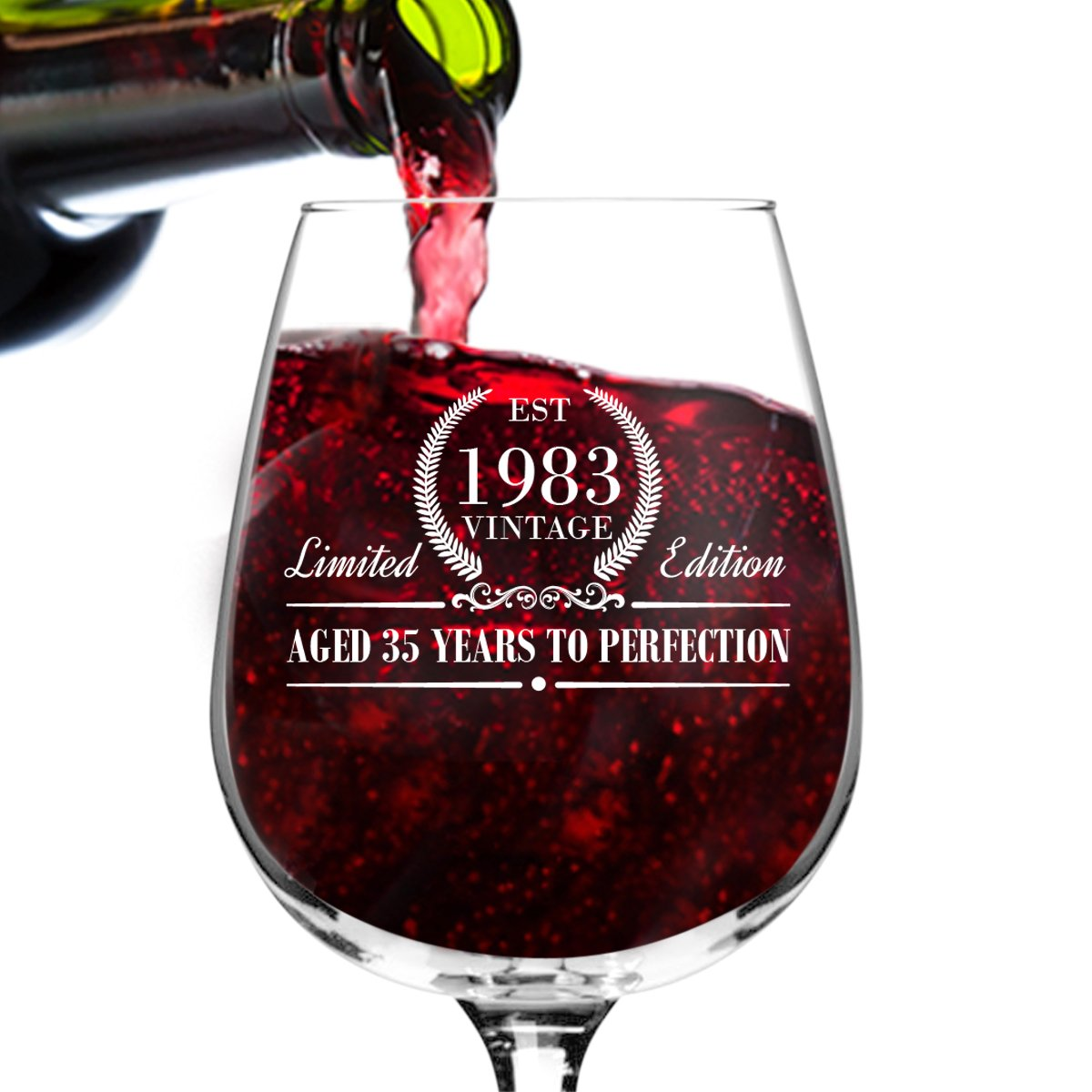 1983 Vintage Edition Birthday Wine Glass for Men and Women (35th Anniversary) 12 oz, Elegant Happy Birthday Wine Glasses for Red or White Wine | Classic Birthday Gift, Reunion Gift for Him or Her