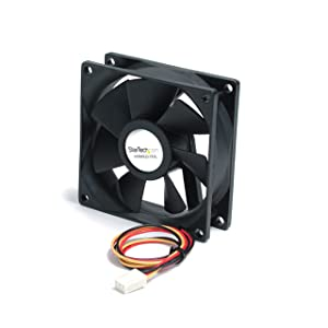 StarTech.com 80x25mm Ball Bearing Quiet Computer Case Fan w/ TX3 Connector - 3 pin case Fan - TX3 Fan - Computer case Fan (FAN8X25TX3L)