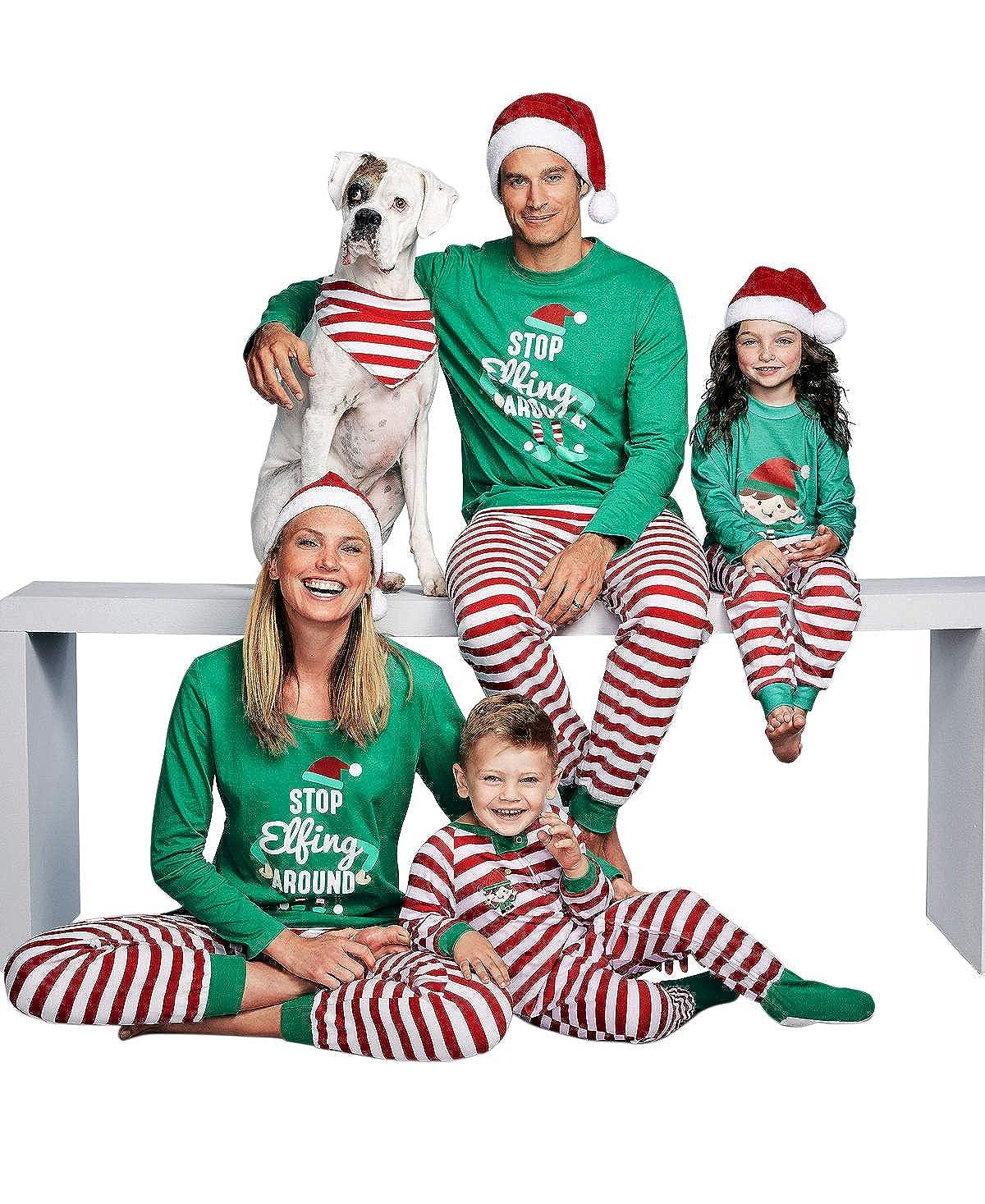 cef823aaf Christmas Family Matching Pajamas Homewear Sleepwear Santa Claus Tops Pants  Set: Amazon.co.uk: Clothing