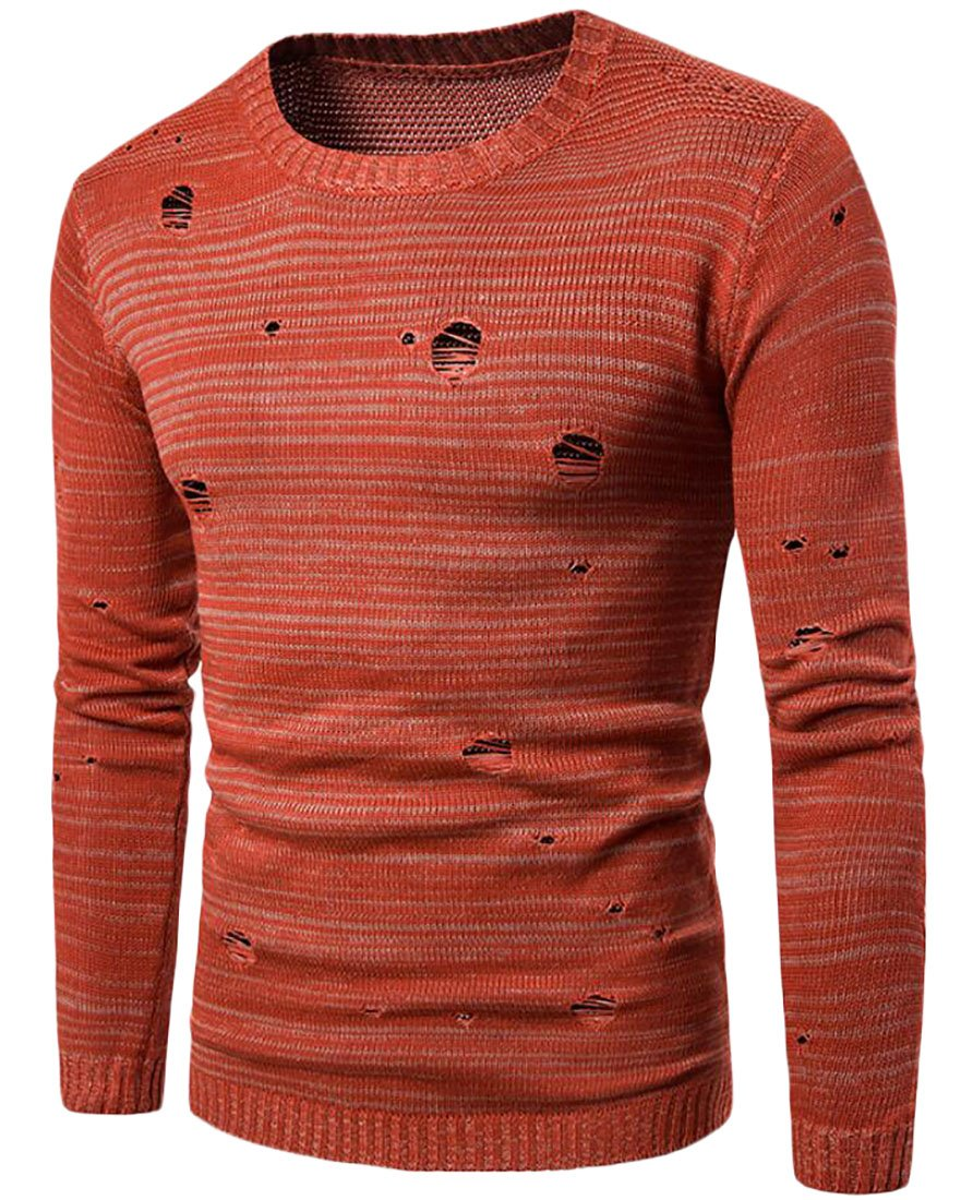 Oberora-Men Stylish Long Sleeve Crewneck Distressed Hole Pullover Sweater
