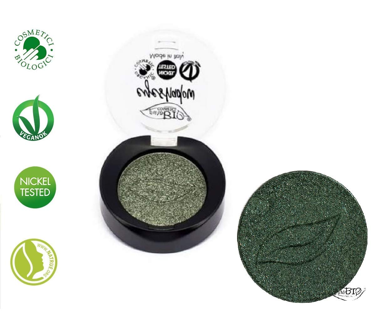PUROBIO – Compact Eyeshadows N.22 – Shimmery Green – Very luminous brass coloured shimmer eyeshadow – Duochrome grey – Organic, Vegan, Nickel Tested, made in Italy