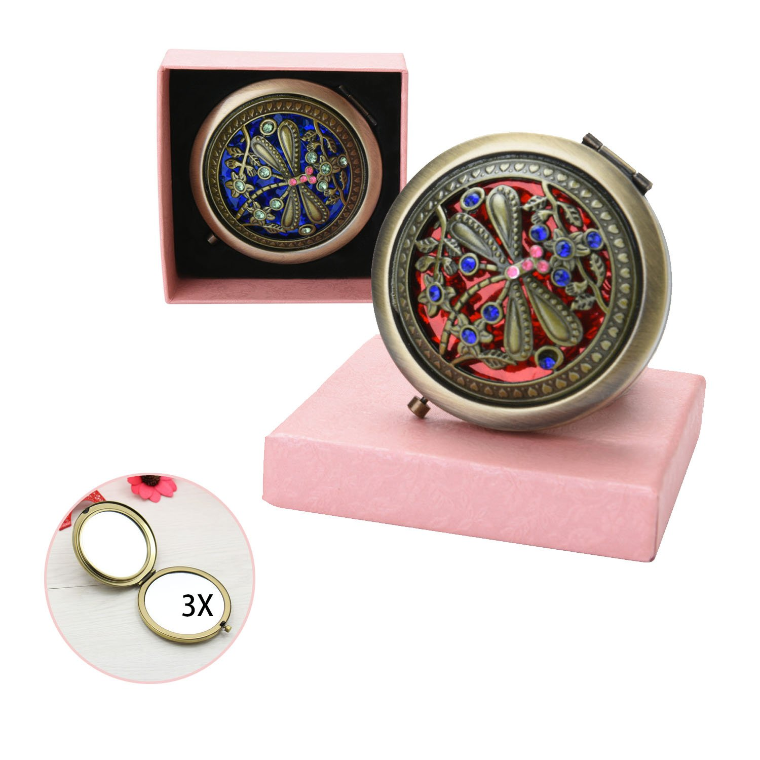 VintageBee Vintage Makeup Mirror Folding Pocket Mirror Round Compact Mirror Double-sided Hand Mirrors A