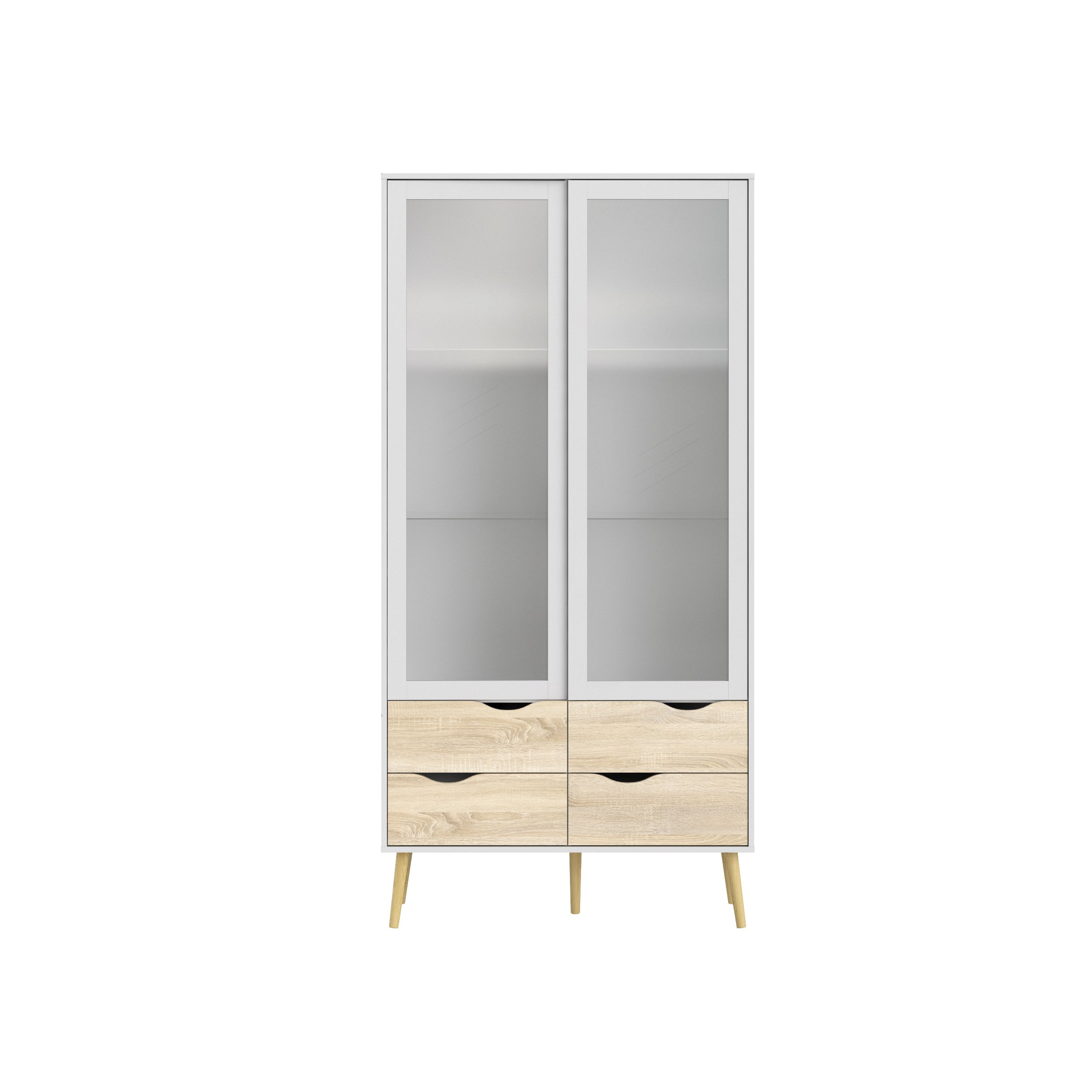 Tvilum 7546249ak Diana 4 Drawer and 2 Door Glass China Cabinet White/Oak Structure