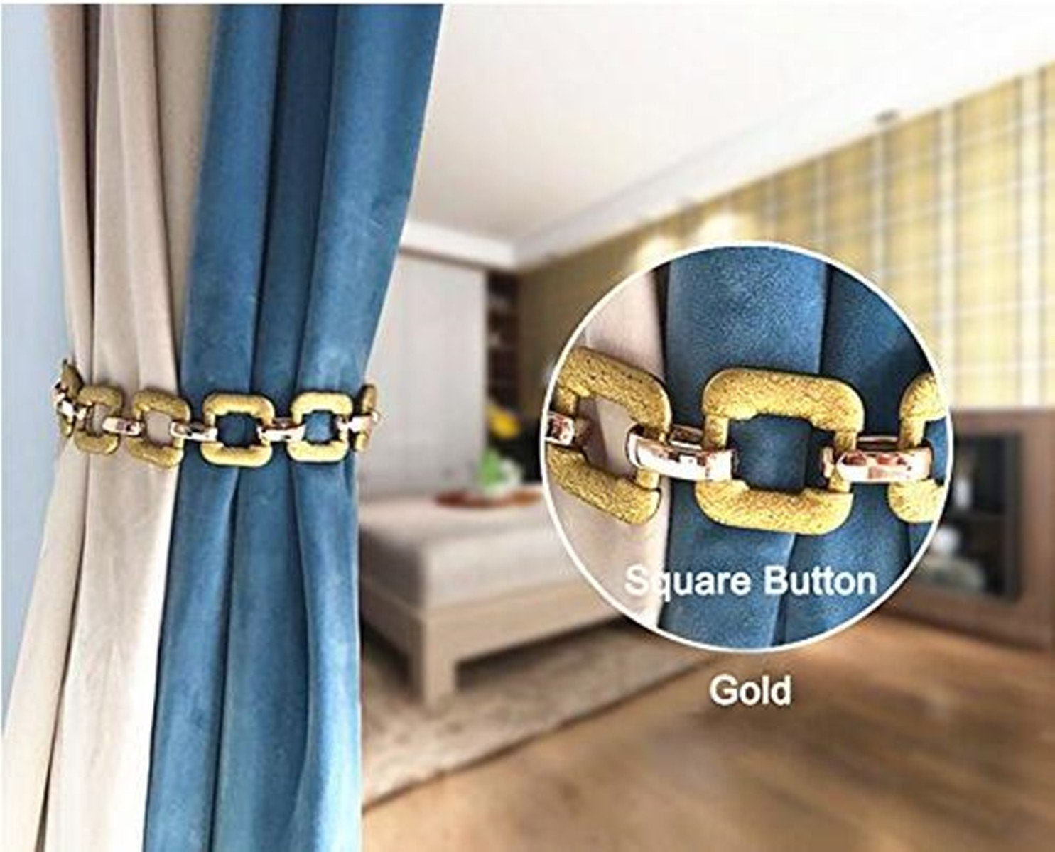 IHClink Curtain Tiebacks Window Holdbacks Metal Curtain Ties Home Office Decorative Drapes Ring Holders Buckles for Drapes 2 Pieces(Square buckle style- Gold)