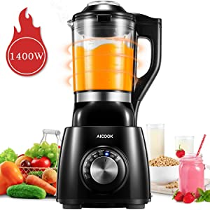 Aicook Blender, 1400W Professional Countertop Blender, 61 Ounce Glass Pitcher None BPA, FDA Proved Baby Blender, 8 Preset Modes with Strong Heating Function