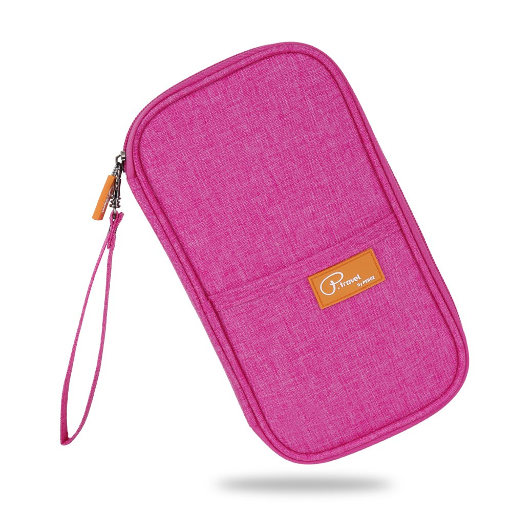 Travel Passport Wallet Family Passport Holder Document Organizer Waterproof Ticket Holder Journey Case(Pink)