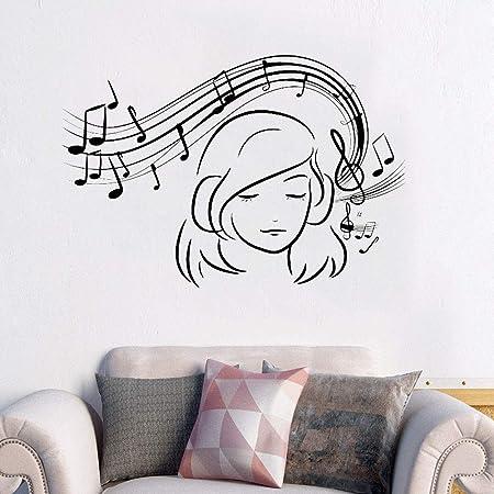 WALSITK Musical Girl Tatuajes de Pared de Vinilo Amante de la ...