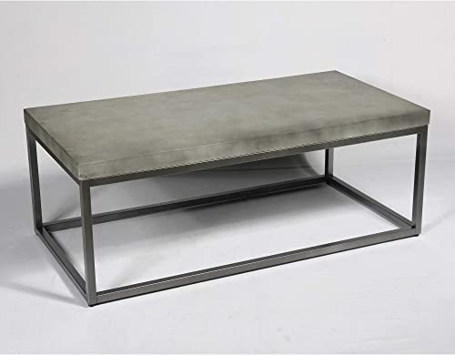 Flint 48 Coffee Table in Slate Gray with Rustic Concrete Look Top And Modern Metal Frame, by Artum Hill