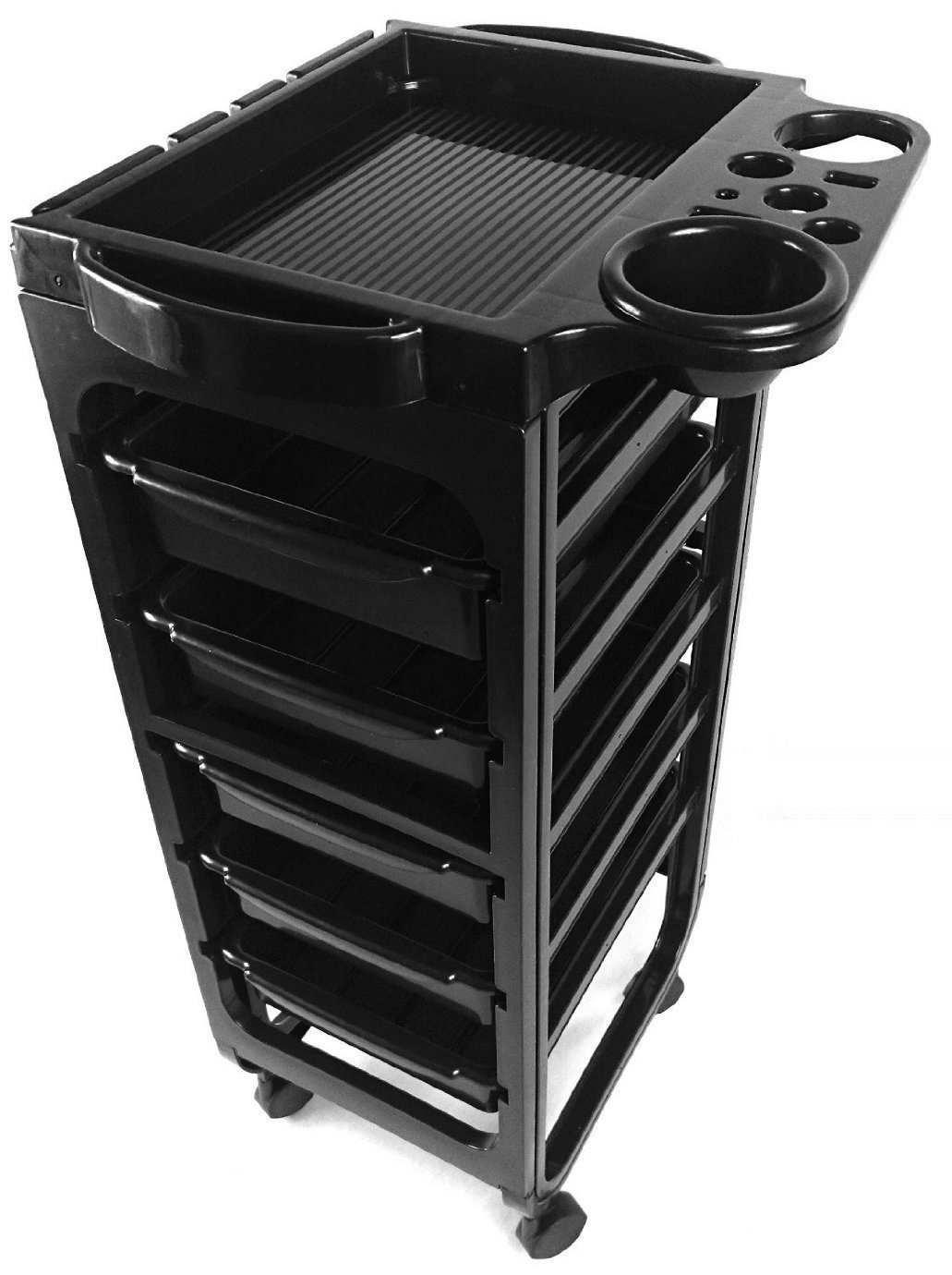 TekNoh Evolve - 6 Tier - EMO Salon Rolling Storage Trolley - Hairdressers Hairdressing Spa Hair Stylist Beauty Barber Cart Drawers Roller - (High Gloss Black Finish) TR-01-EMO-B