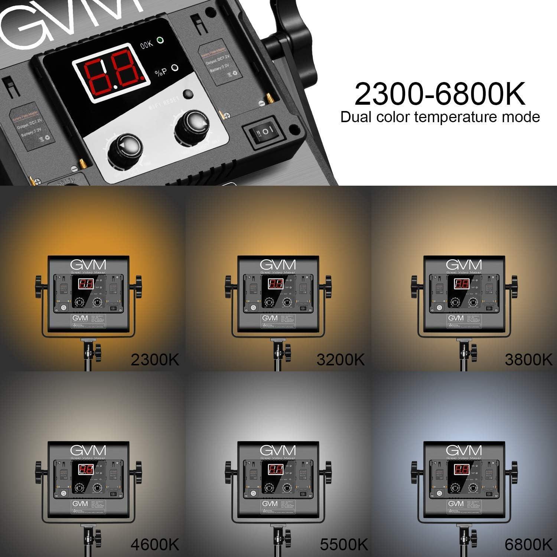 2 Packs Photography Lighting with APP Intelligent Control System Video Lighting Kit 2300K-6800K Lighting for YouTube Dimmable Bi-Color Outdoor CRI 97+ Studio GVM 560 LED Video Light