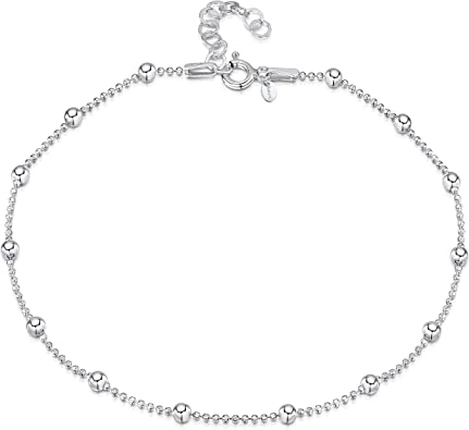 Genuine 925 Sterling Silver Balls With Ball Chain Anklet Women Girls Children