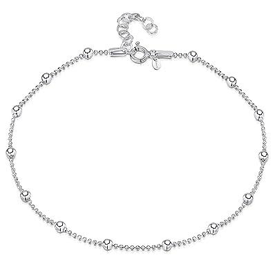 "8d94e8b4760 925 Fine Sterling Silver 3.2 mm Adjustable Anklet - Ball Bead Chain Ankle  Bracelet - 9"""