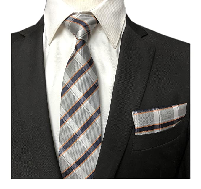 Elfeves Men's Trendy Scottish Tartan Ties Set Checks Neckties with Pocket Square
