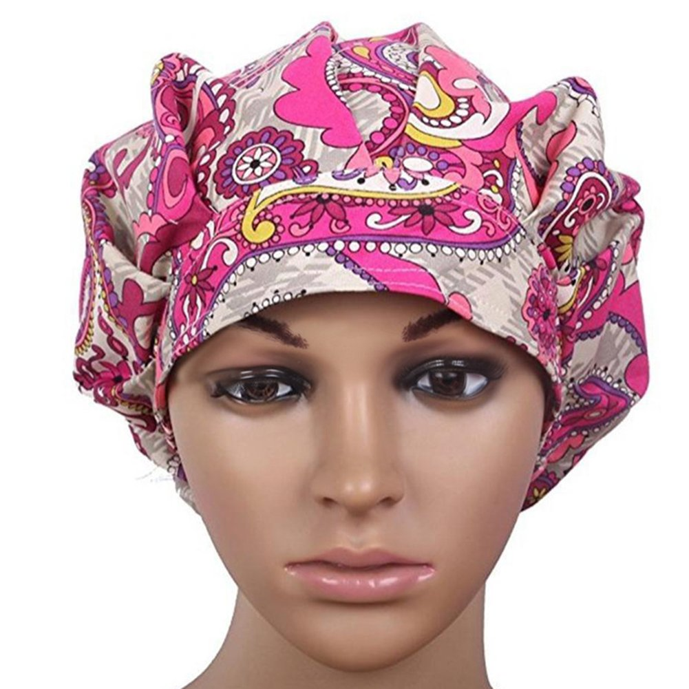 dds5391 Floral Scrub Cap Hospital Medical Surgical Surgery Hat for Doctor Nurses