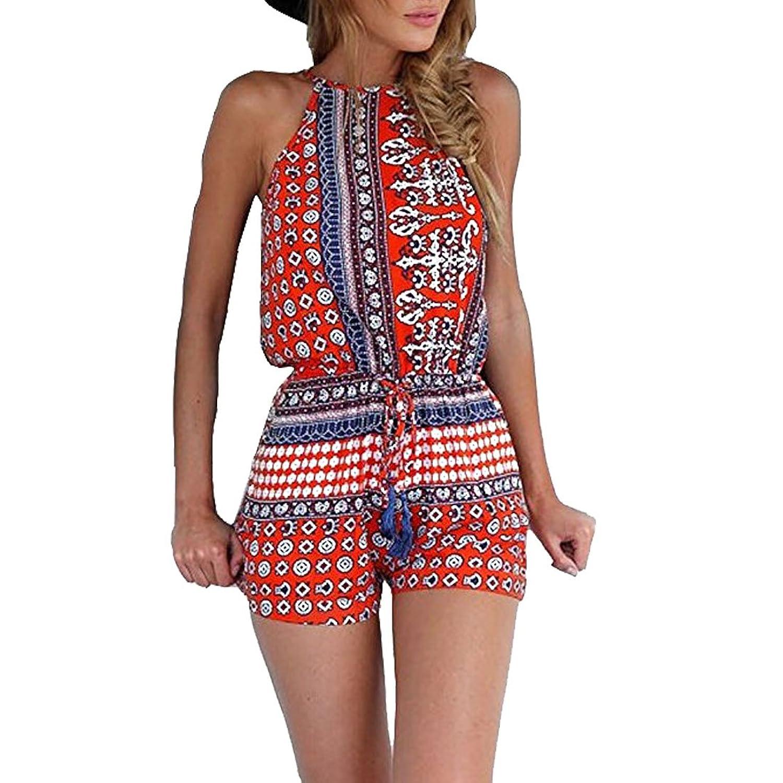 ALAPUSA Women's Sleeveless Bohemian Casual Romper Short Jumpsuit