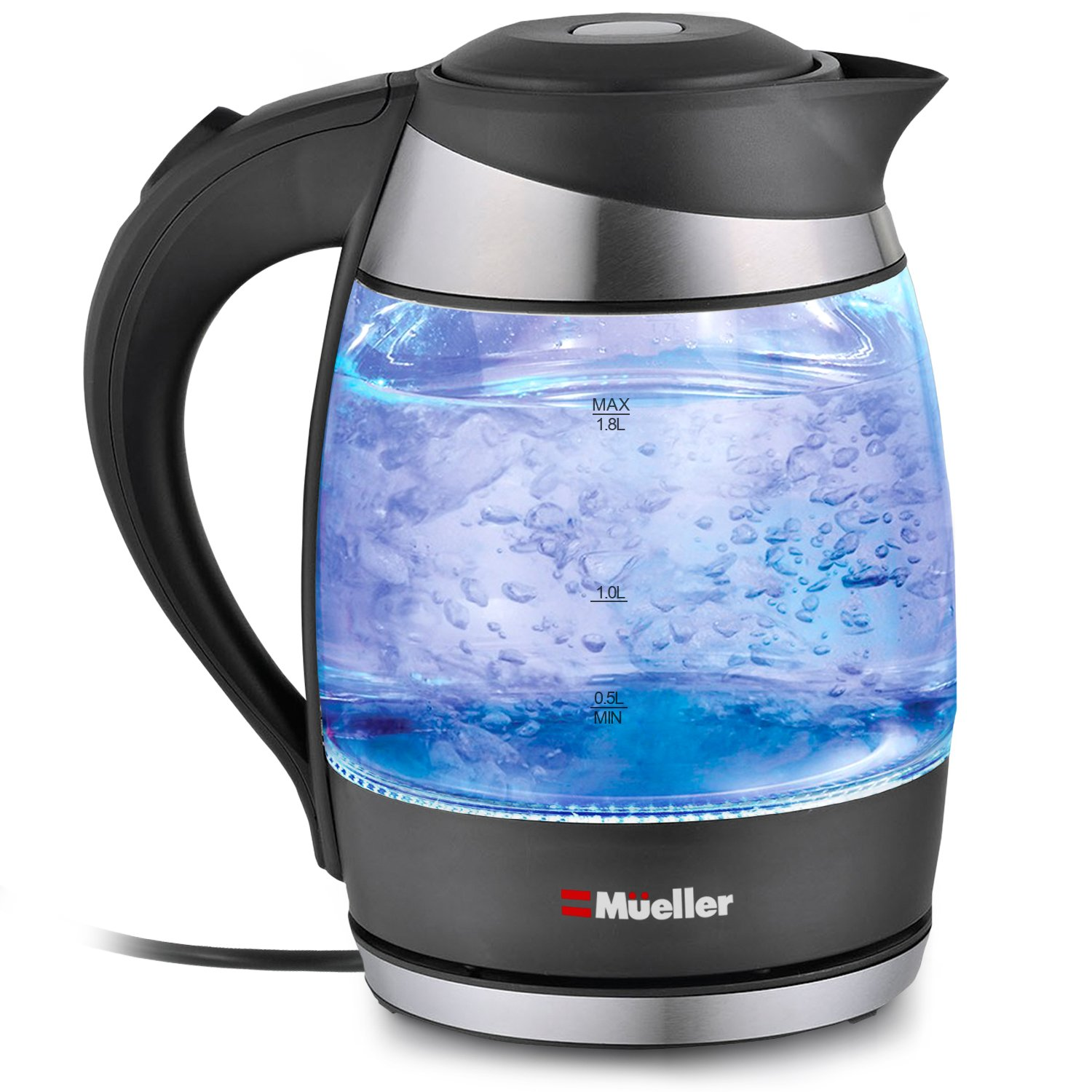 Electric Kettle Water Heater with SpeedBoil Tech, Glass Tea, Coffee Pot 1.8 Liter Cordless with LED Light