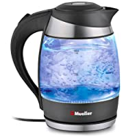 Mueller Ultra Cordless Electric Kettle Fast Boiling Glass Tea, Coffee Pot 1.8 Liter Cordless with LED Light Inside Borosilicate Glass BPA-Free