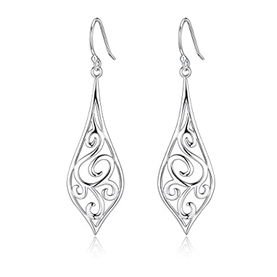 sterling silver filigree rattan leaf design dangle