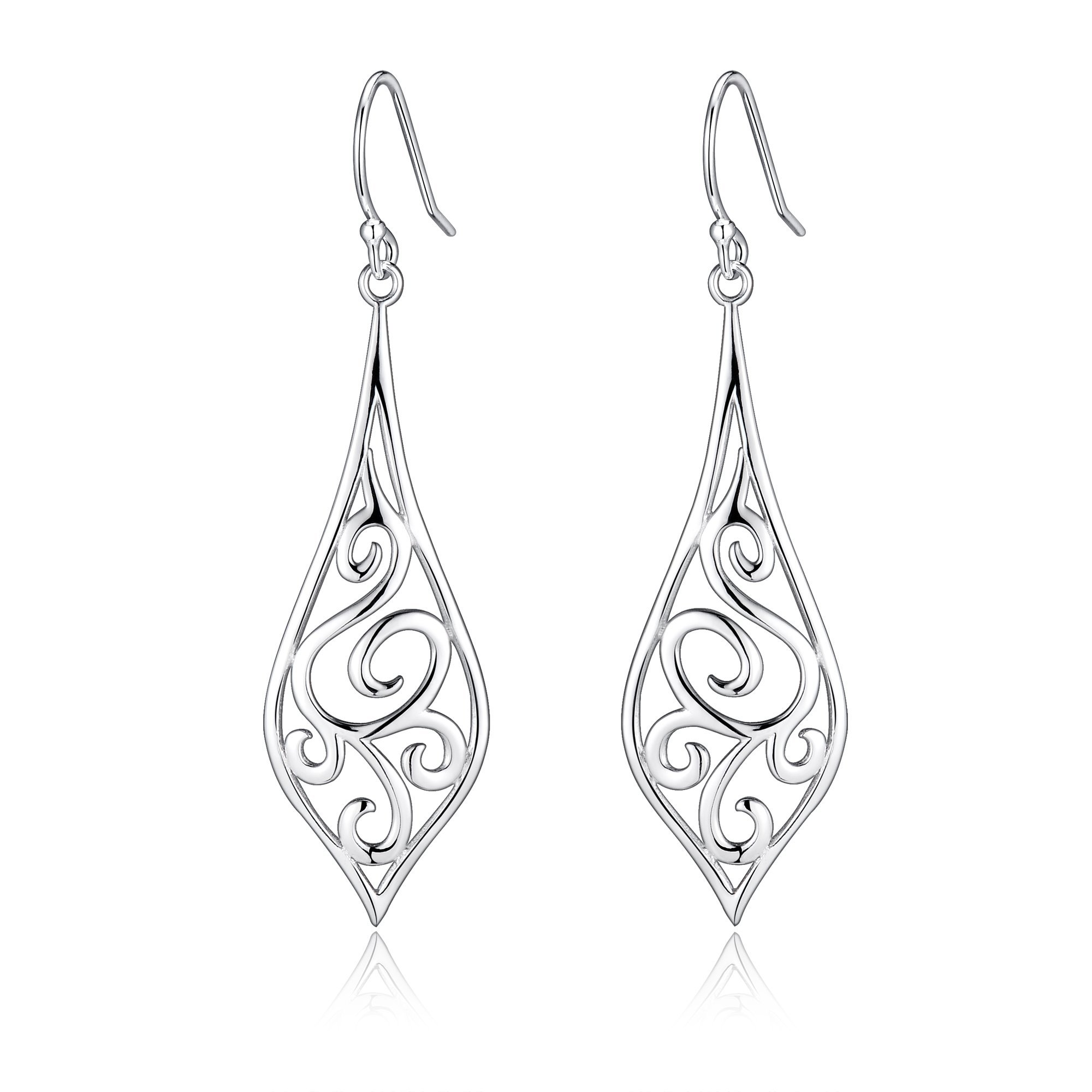 Sterling Silver Minimalist Design Of Rattan & Leaf Dangle Drop Earrings For Sensitive Ears By Renaissance Jewelry