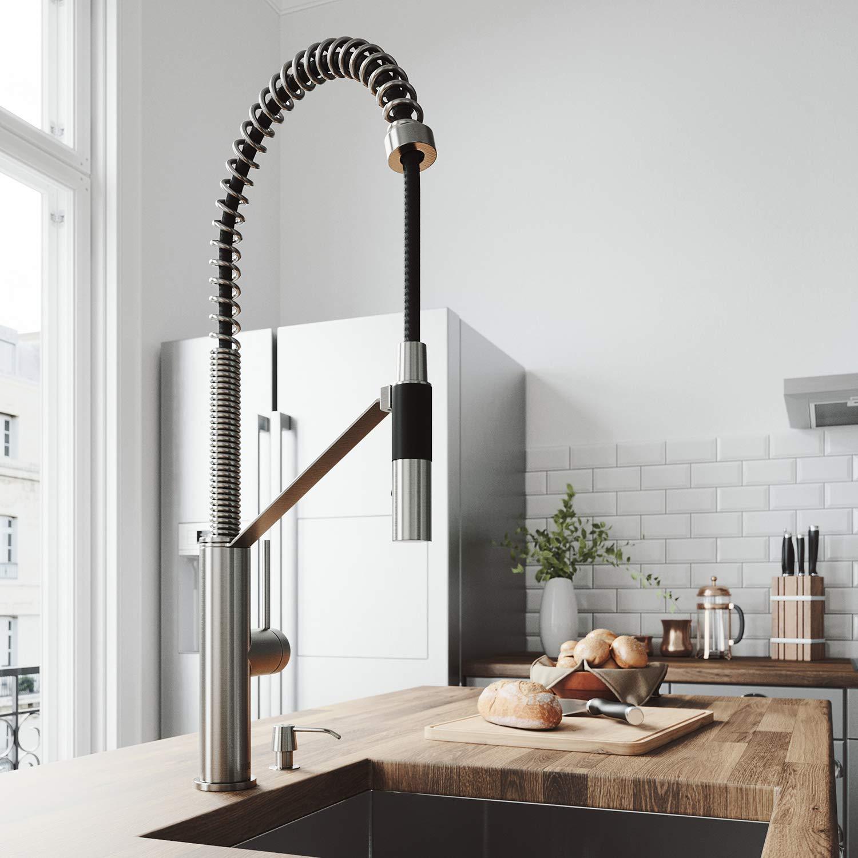 VIGO Livingston Magnetic Kitchen Faucet With Soap Dispenser In Stainless Steel by VIGO
