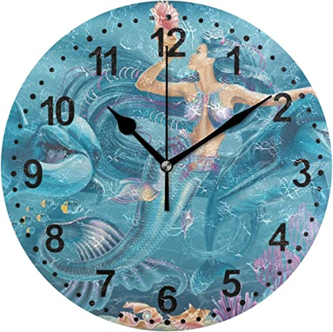 Amazon Com Suabo Clocks For Living Room Decor 9 5 Inch Silent Non Ticking Bathroom Wall Clock One Size Mermaid And Dolphin Home Kitchen
