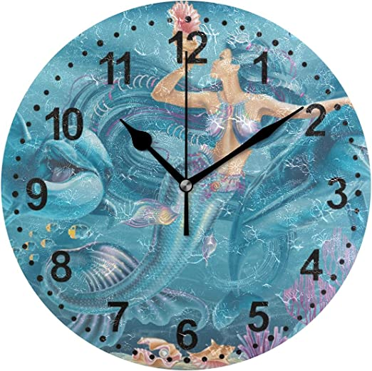 Beautiful MERMAID Clock by Cute Clocks ideal for little girl glittery 19 cm