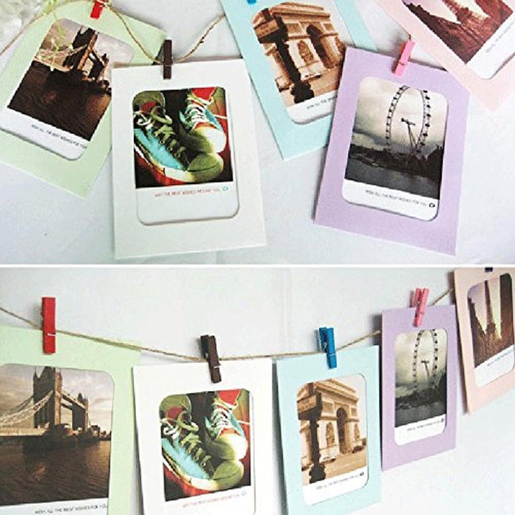 display08 1 Satz DIY Wand hängender Foto-Rahmen-Album-Klipp-Seil ...