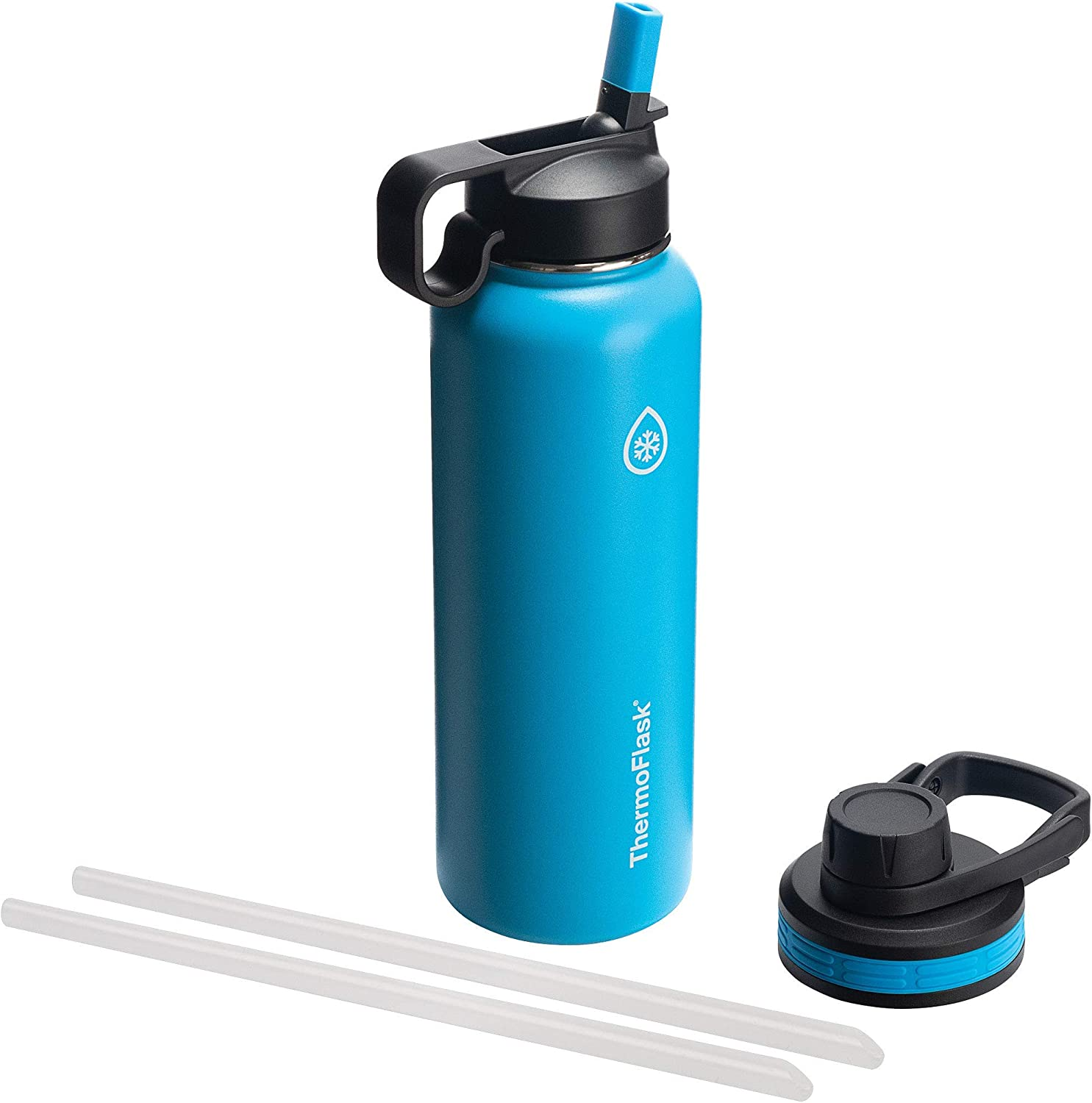 Thermoflask 50062 Double Insulated Stainless Steel Water Bottle with Chug Straw Lid, 40 oz, Capri (Renewed)
