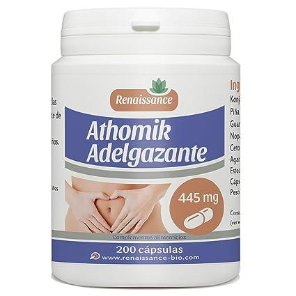 Athomik Adelgazante, 200 cápsulas, 445 mg de mescla de plantas por cápsula. Un