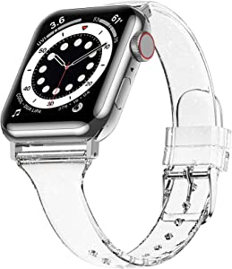 Miimall Silicone Compatible with Apple Watch Bands 38mm 40mm, Leisure Sport Bling Glitter Strap TPU Replacement Adjustable Wristband for Apple Watch 38mm 40mm Series 6 SE 5 4 3 2 1 (Clear)